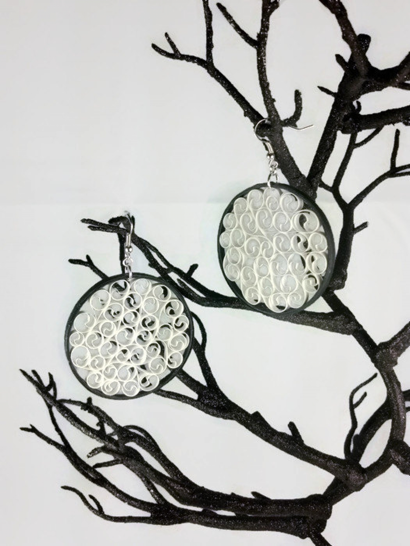 Black And White Filigree Earrings Large Sweethearts And