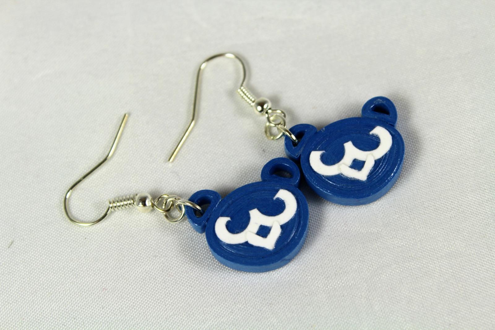 Cubs Earrings Cubby Bear Blue