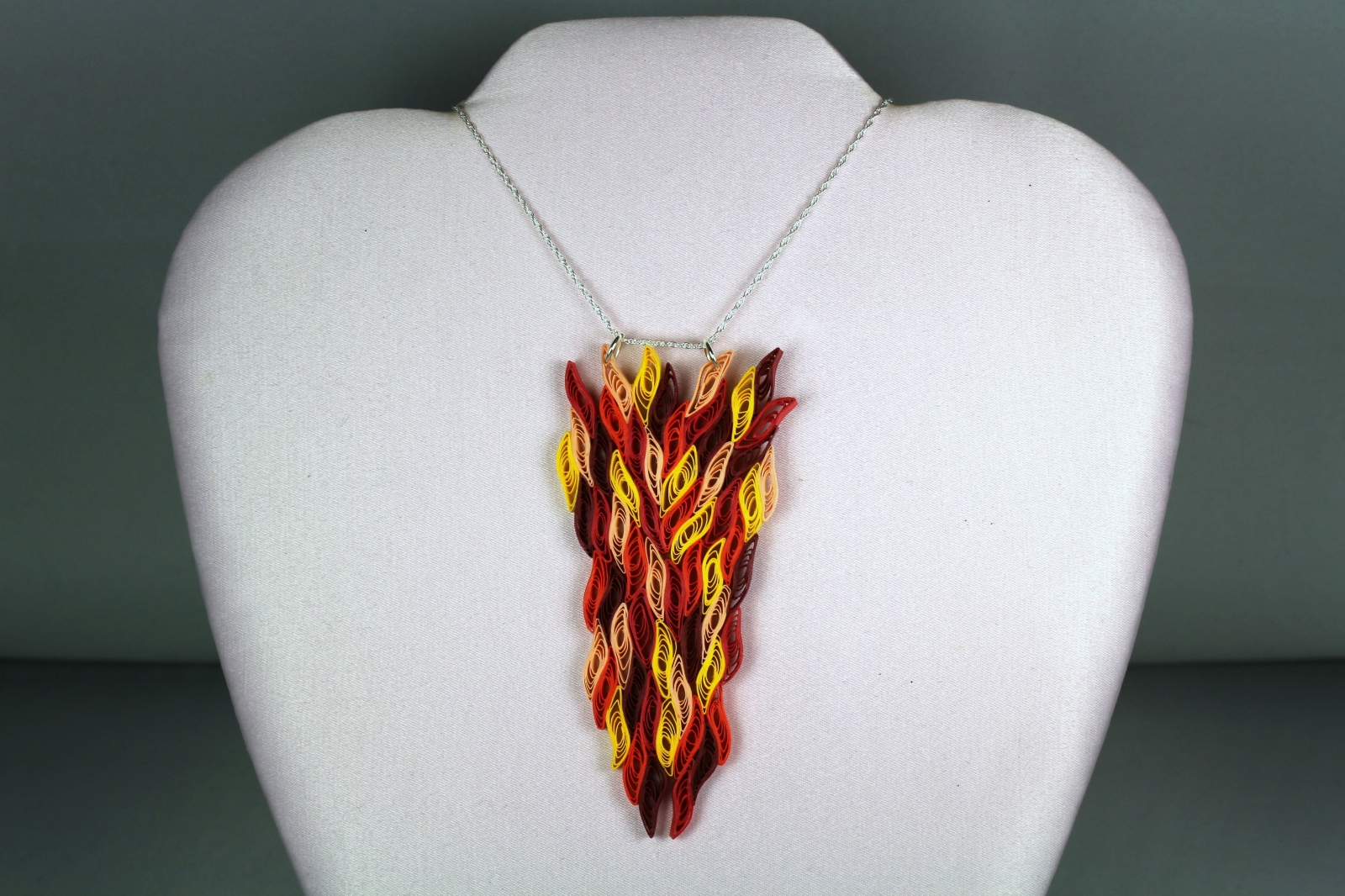Fire Necklace Paper Quill Flames Large Pendant Sweethearts And Crafts