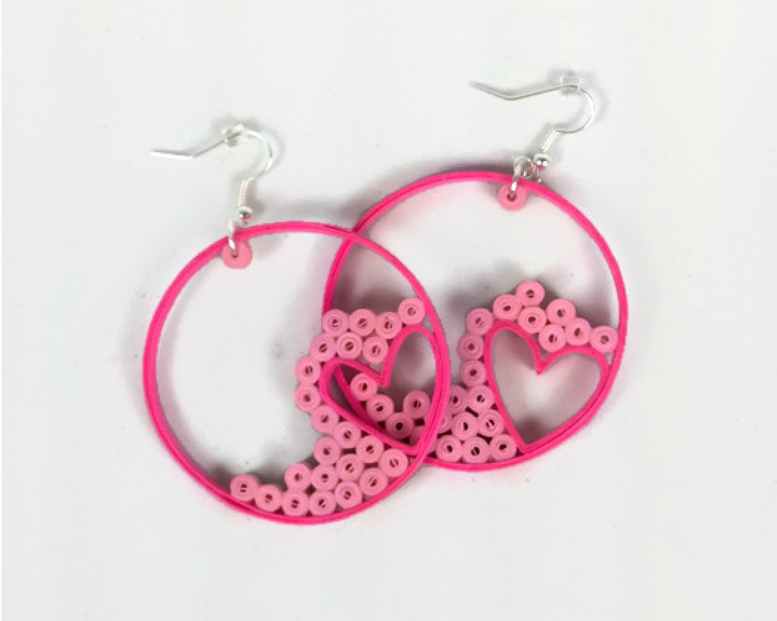 Pink Heart Hoop Earrings Paper Quilling Jewelry Hearts