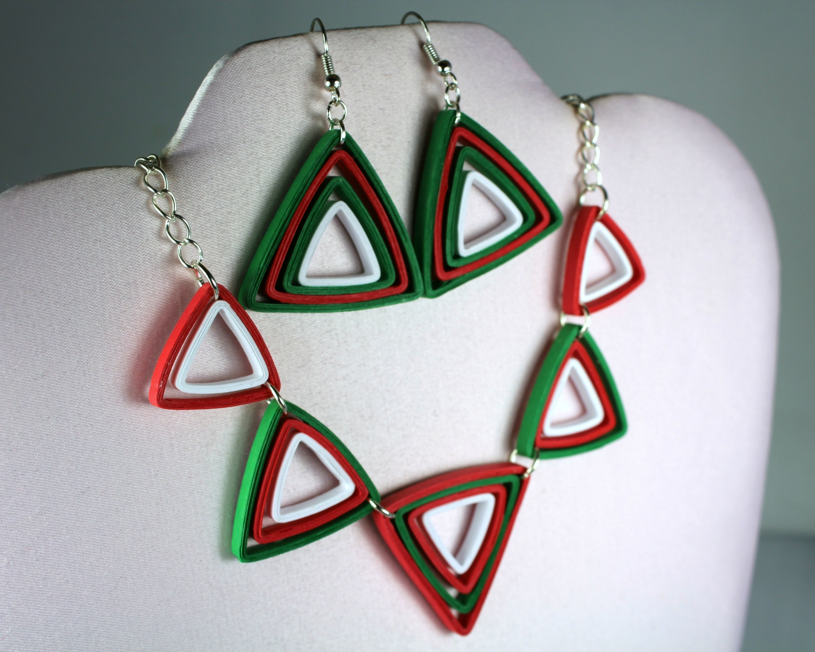 Christmas Jewelry.Modern Christmas Jewelry Set Paper Triangles