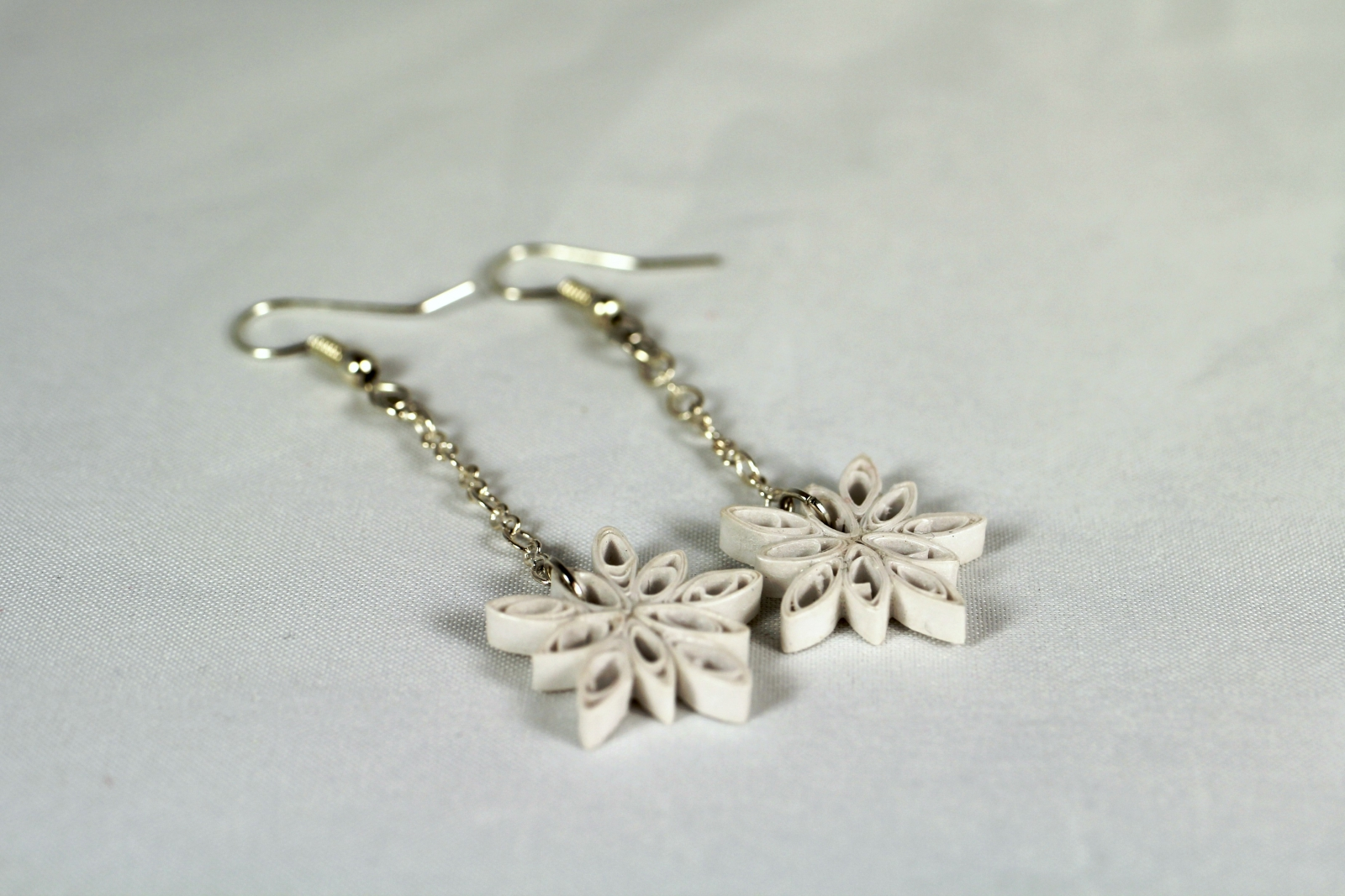 Dangle Snowflake Earrings Handmade Quill Paper Jewelry