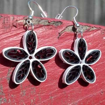 Paper Quilled Daisy Handmade Flower Earrings