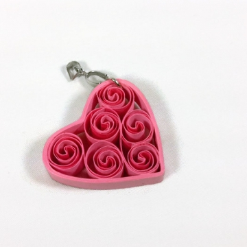 Paper Quilled Pink Heart Pendant