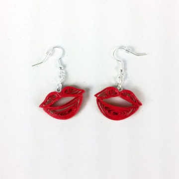 Red Kiss Lips Quilling Handmade Earrings