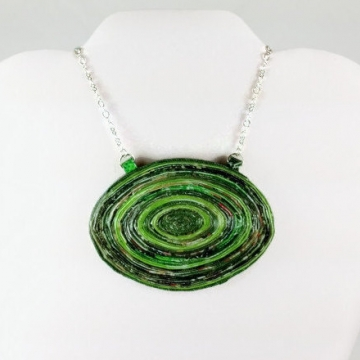 Upcycled Chunky Green Statement Necklace