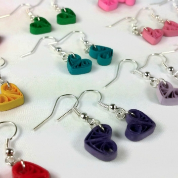 Tiny Heart Earrings Paper Anniversary Different Colors