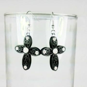 Handmade Cross Earrings, Black Quilling Jewelry