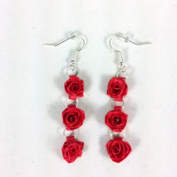 Handmade Three Red Roses Dangle Earrings