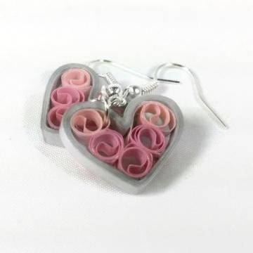 Pink Silver Heart Earrings Signature Sweetheart