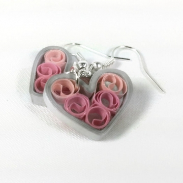 Pink Silver Heart Earrings Signature Sweetheart