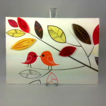 Quilling Art Love Birds on Canvas