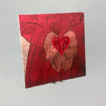 Heart in Hand Print with Quilling Art