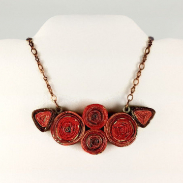 Eco Friendly Upcycled Red Paper Necklace