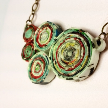 Chunky Magazine Paper Upcycled Necklace