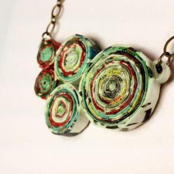 Chunky Magazine Paper Upcycled Necklace