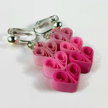 Paper Quilled Heart Clip On Earrings