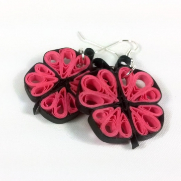 Paper Quilling Butterfly Earrings, Pink, Purple, Green
