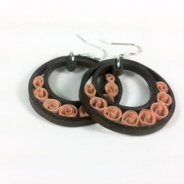Brown Crescent Moon Hoop Earrings