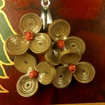 Bronze Paper Plumeria Flower Quilled Necklace