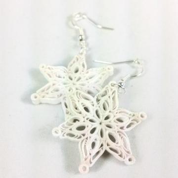 Handmade Snowflake Earrings Paper Jewelry