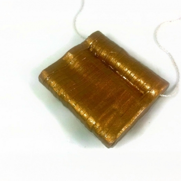 Chunky Gold Pendant Silver Chain Necklace
