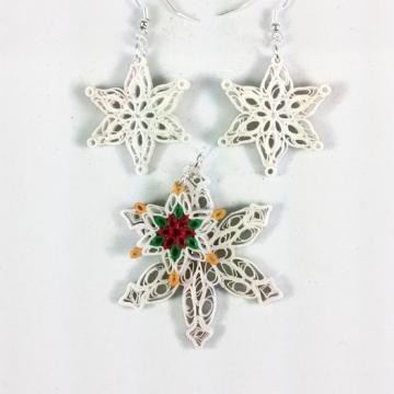 Paper Snowflakes Set Handmade Christmas Jewelry