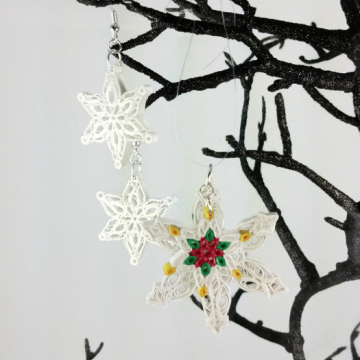 Snowflakes Paper Quilled Jewelry Set