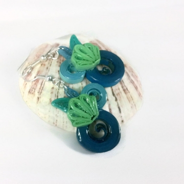 Mermaid Seashell Earrings, Paper Quilling Jewelry