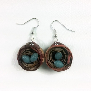 Quilled Birds Nest Earrings with Eggs New Mom Gift