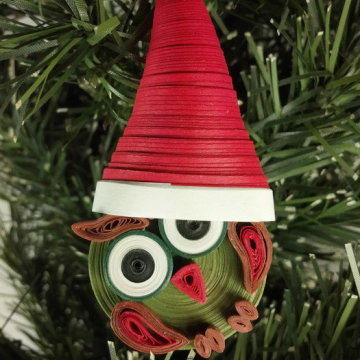 Quilling Christmas Owl Ornament