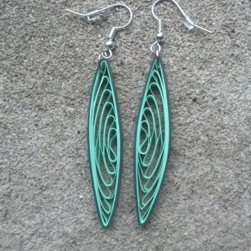 Eco-Friendly Green Dangle Earrings Paper Quilling