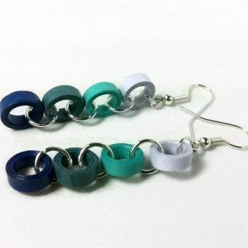 Blue Paper Rings Chain Handmade Earrings