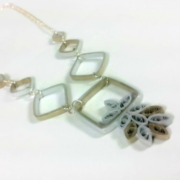 Geometric Squares Mixed Metal Paper Necklace
