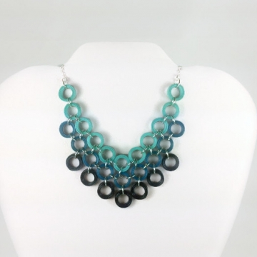 Eco Chic Bib Necklace Paper Quilling Chainmaille Cluster