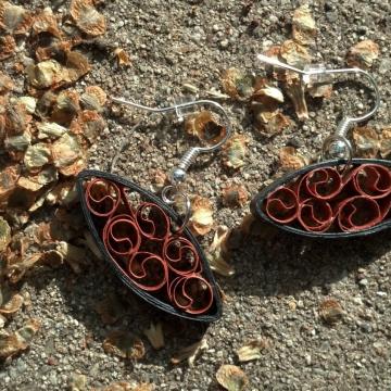 Oval Almond Shape Copper Filigree Earrings