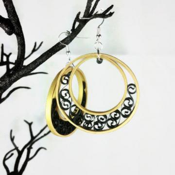 SALE Gold Hoop Earrings Paper Filigree