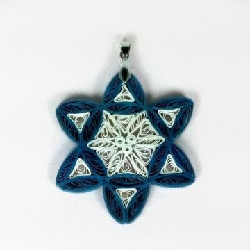 Handmade Star of David Pendant Blue White Filigree