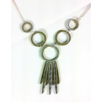 Silver and Gold Circles Statement Necklace