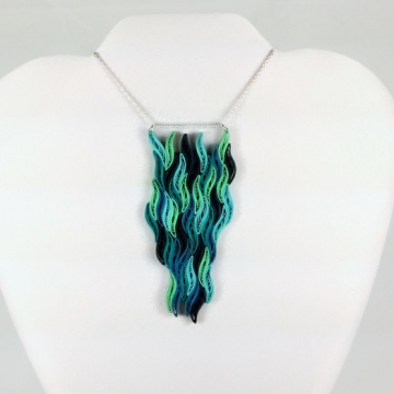 Waterfall Necklace Blue Paper Quilled Pendant