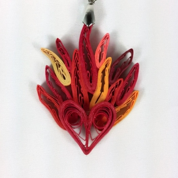 Paper Quilled Heart on Fire Pendant Anniversary Gift