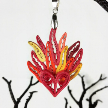 Paper Quilled Heart on Fire Pendant