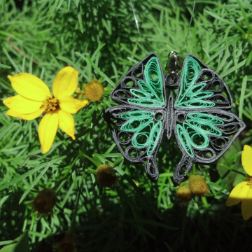 Large Green Butterfly Paper Quilled Pendant