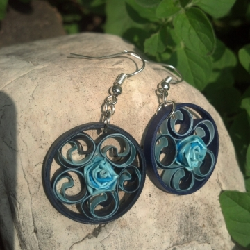 Navy Blue Filigree Round Earrings Blue Flower