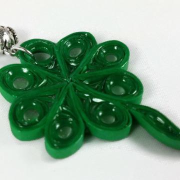 St Patricks Day Necklace Four Leaf Clover