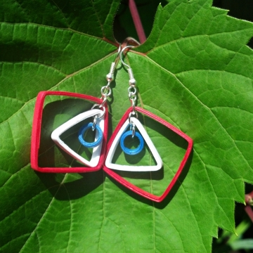 Red White and Blue Paper Geometric Earrings