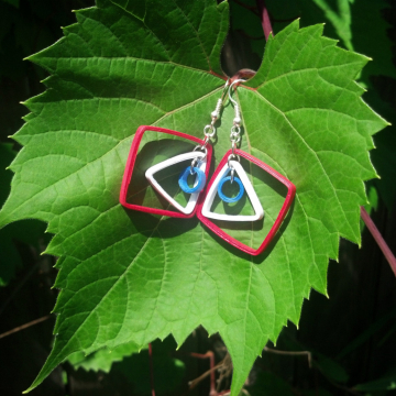Red White and Blue Quilling Earrings