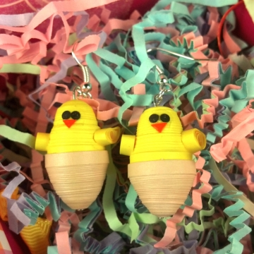 Baby Chicken Earrings for Easter Paper Quilled