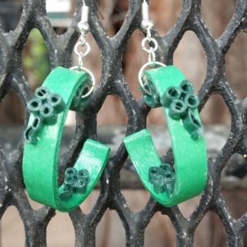 Irish Earrings Half Hoop with Quill Shamrock
