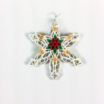 Christmas Quilling Snowflake Pendant with Poinsettia